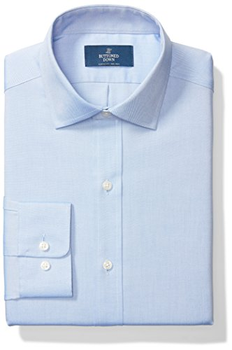 BUTTONED DOWN Men's Classic Fit Spread Collar Solid Non-Iron Dress Shirt (No Pocket), Blue, 19