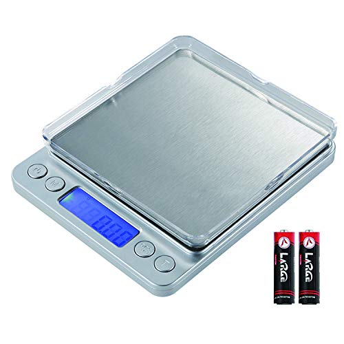 Food Scale, Digital Kitchen Scale, 500g/ 0.01g Small Pocket Jewelry Scale, 6 Units, Back-Lit LCD Display, Stainless Steel, 2 Trays, Auto Off, Tare, PCS, Silver
