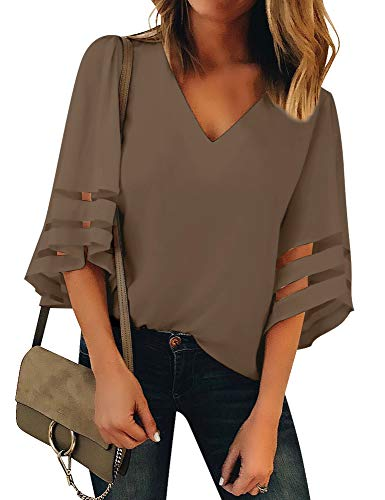 Luyeess Women's Casual V Neck Loose Mesh Panel Chiffon 3/4 Bell Sleeve Blouse Top Shirt Tee Brown, Size S(US 4-6)
