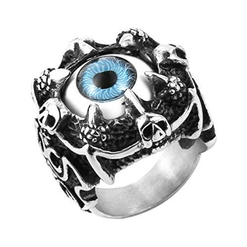 HZMAN Men's Vintage Gothic Biker Dragon Claw Evil Devil Eye Skull Stainless Steel Ring (10)