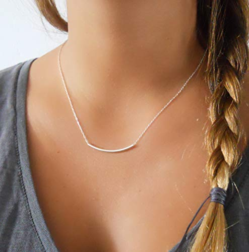 Delicate Sterling Silver Tube Bar Necklace - Handmade