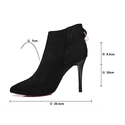Tacchi a spillo punta Sposa corto tubo di donna Martin stivali alti banchetti caviglia stivali scarpe , 37