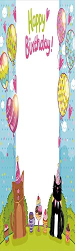 Price comparison product image Birthday Decorations for Kids 3D Decorative Film Privacy Window Film No Glue, Frosted Film Decorative, Party Black and Brown Cats Cakes Balloons Heart Polka Dots, for Home&Office, 17.7x59Inch Multicolor