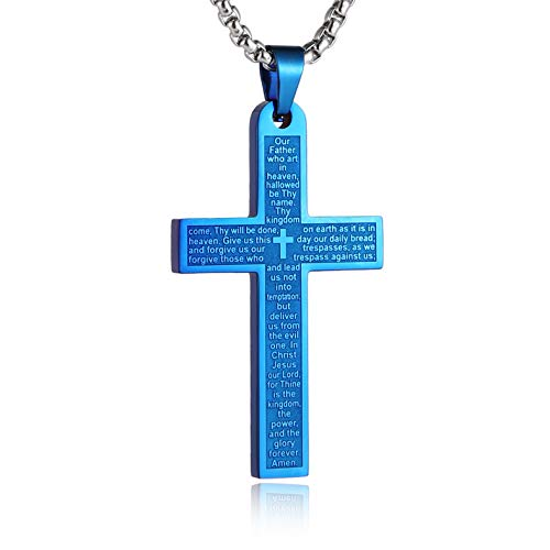 HZMAN Stainless Steel Mens Womens Cross Necklace Lord's Prayer Pendant, 3 Colors Available (Blue) -