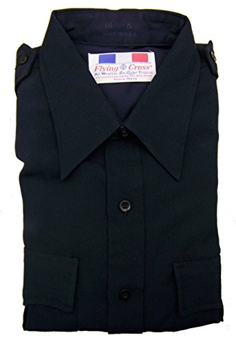 Flying Cross Men's Navy All Weather Deluxe Tropical Long Sleeve Uniform Shirt (17 x 32)
