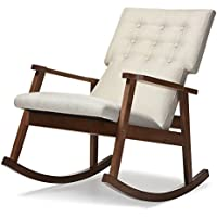 Baxton Studio Agatha Mid-Century Modern Fabric Upholstered Button-Tufted Rocking Chair, Light Beige