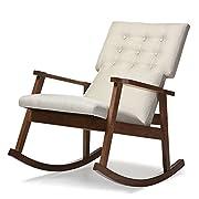 Baxton Studio Agatha Mid-Century Modern Fabric Upholstered Button-Tufted Rocking Chair, Light Beige
