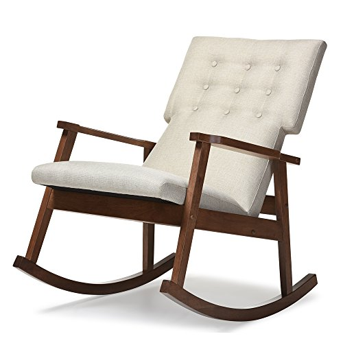 Rocking Chairs Wholesale - Baxton Studio Agatha Mid-Century Modern Fabric Upholstered Button-Tufted Rocking Chair, Light Beige