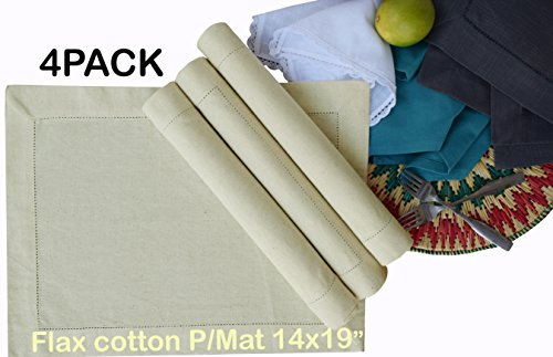 PACK of 4, Flax Cotton Designer Hemstitched Placemats 14 Inches by 19 Inches, Natural Color by Linen Clubs - Premium Linen Look, Flax Cotton Blend - 100% Cellulose Natural Fiber (Flax Color)