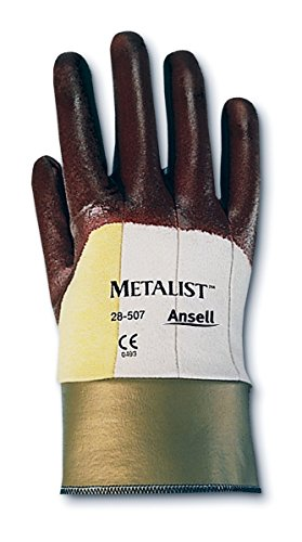 Ansell Gloves Cotton (Ansell Metalist 28-507 Kevlar/Cotton Glove, Cut Resistant, Brown Foam Nitrile Coating, Safety Cuff, Small, Size 7 (Pack of 12 Pairs))