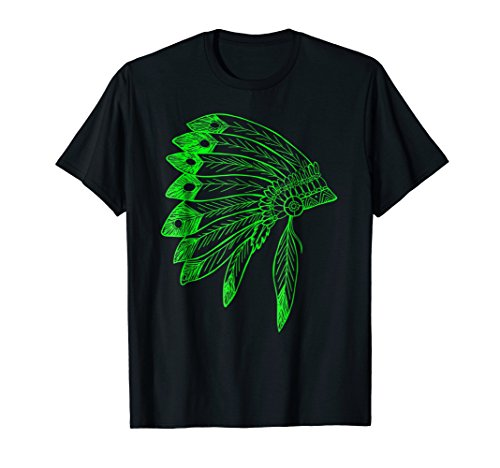 - Mens Native American Feather Headdress Tee Native Indian T Shirt 2XL Black