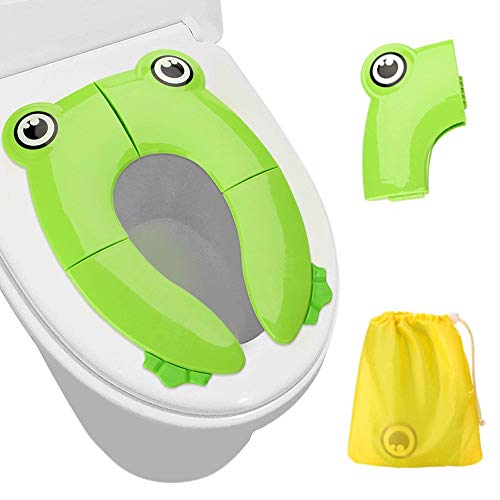 Upgrade Folding Large Non Slip Silicone Pads Travel Portable Reusable Toilet Potty Training Seat Covers Liners with Carry Bag for Babies, Toddlers and Kids(Green)