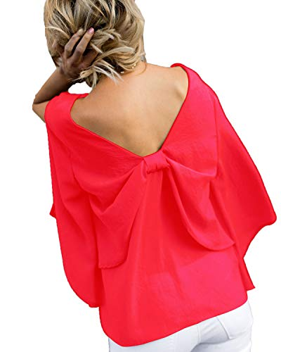 Dos ud Tops Chemisiers Haut Blouses Col Femmes Tee Automne Shirt Rouge Papillon et Longues Fendues Manches Fashion Onlyoustyle Printemps Nu N V 0Tg6qFWv