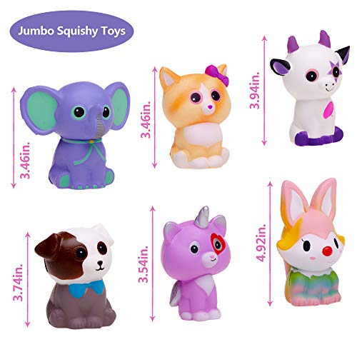 FORTON Kawaii Slow Rising Squishy Toys Animals Unicorn Cat Dog Cow Fox Elephant Squishies Pack of 6 by FORTON (Image #1)