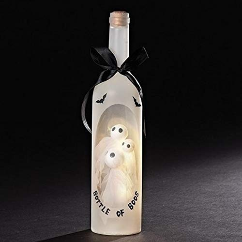 Bottle of Boos Ghosts Light Up LED 13 Inch Wine Bottle Halloween Tabletop Figurine -