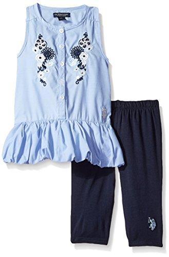 U.S. Polo Assn. Toddler Girls' 2 Piece Chambray Top and Capri Legging Set, Peacoat, 3T (Toddler Girls Capri Set)