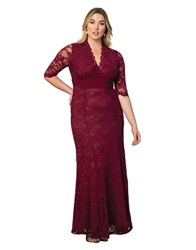 Kiyonna Women's Plus Size Screen Siren Lace Gown 3x Rose - Siren Wine Red