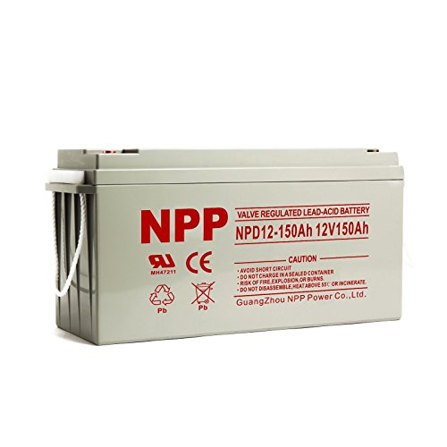 NPP 12V 150 Amp NPD12 150Ah Rechargeable Sealed Lead Acid Deep Cycle Battery With Button Style Terminals by NPP