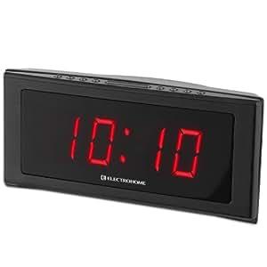 electrohome 1 8 inch jumbo led alarm clock radio with battery backup auto time set. Black Bedroom Furniture Sets. Home Design Ideas
