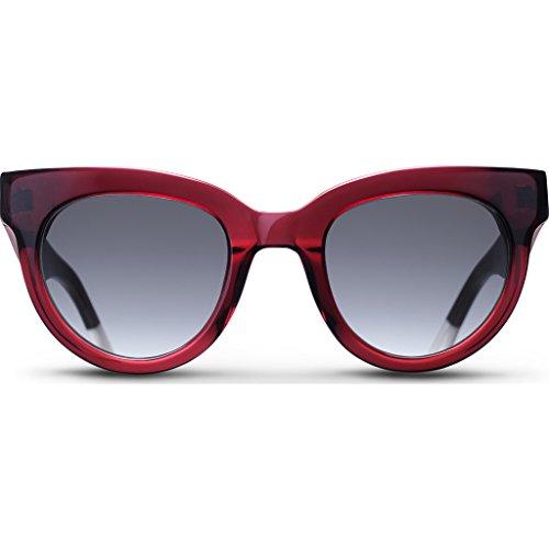 Triwa Women's Olivia Wayfarer Sunglasses, Transparent Burgundy & Ivory White Temple Tips, 55 - Sunglasses Triwa