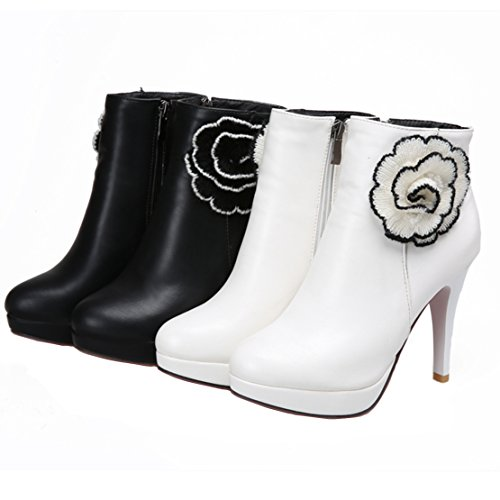 Autumn Flowers Zipper Heels AIYOUMEI Boots Side Womens White Winter Decoration Stiletto High with Bootie Ankle q07wAE0