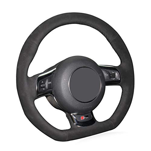 Mewant Hand Sewing Durable Black Suede Steering Wheel Wrap Cover Tight Fit for Audi R8 2008-2010 Audi TT 2008-2015 Audi TTS 2009-2015 Audi TT RS 2012-2013