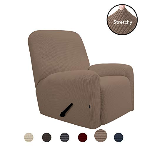 Ready Made Slipcover - PureFit Stretch Recliner Sofa Slipcover with Pocket - Spandex Jacquard Anti-Slip Soft Couch Sofa Cover, Washable Furniture Protector with Elastic Bottom for Kids (Recliner, Camel)