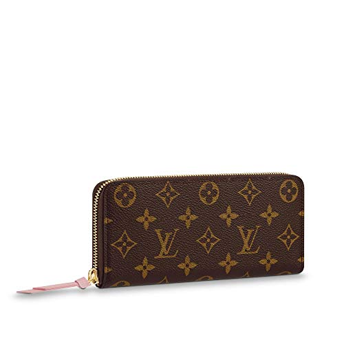 Fashion Elegant Monogram Practical Compact Wallets Canvas Leather Zipper Coin Purse Pocket with Credit Card Slot for Women 19.5 x 9.0 x 1.5 cm Fluorescent Pink