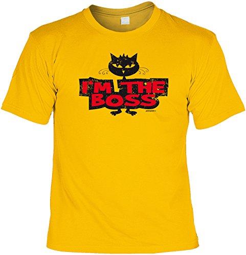T-Shirt - Katze - I am the Boss - lustiges Sprüche Shirt als Geschenk für Katzen Fans mit Humor