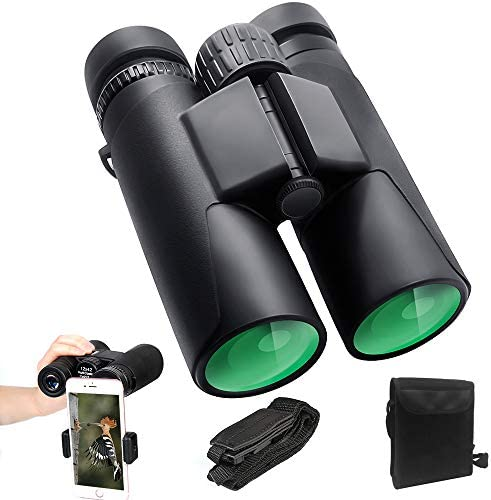 ToyerBee Binoculars for Adults Kids, 12X42 HD Roof Prism Folding Binoculars, Waterproof Binocular Weak Light Night Vision for Bird Watching Concert Traveling and Sightseeing with Smartphone Adapte