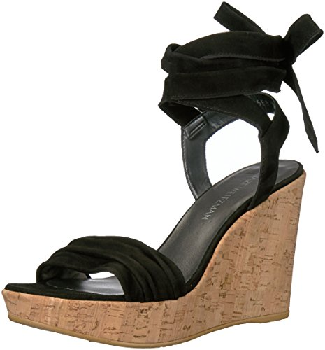 Stuart Weitzman Women's Backagain Wedge Sandal, Black, 6.5 M