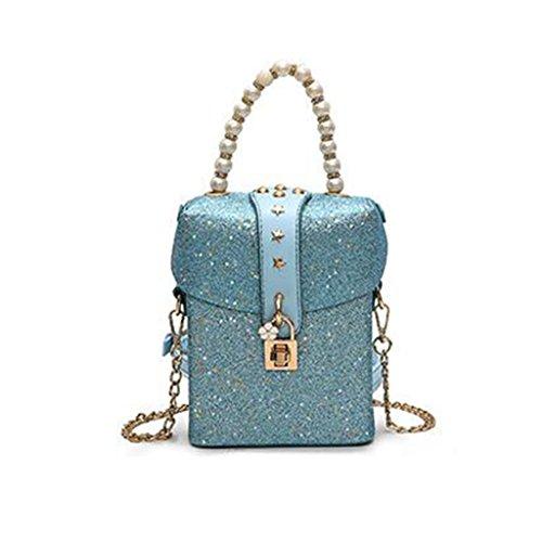 Liu Crossbody bloqueos creativa La Color PU Lentejuelas Azul de Yu·casa Pequeño Paquetes Bolso Personalidad de Mensajero Cuadrado Mujer claro Hombro de Bolso Plata Bolso Bolso AwqCArWp