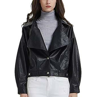 DISSA PP1898 Women Faux Leather Cropped Jacket Loose Coat,Black,S,UK 10