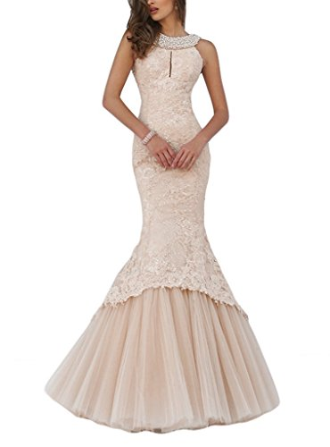 Promworld Women's Mermaid Lace Evening Gowns Halter Key Hole Beaded Long Prom Dress Champagne US10