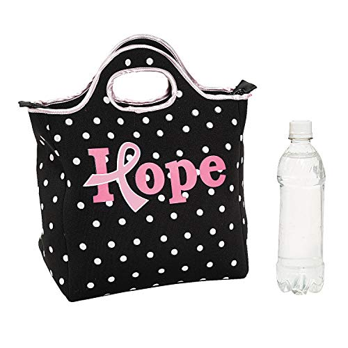 Fun Express - Pink Ribbon Neoprene Lunch Tote - Apparel Accessories - Totes - Misc Totes - 1 Piece -