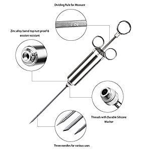 Meat Injector Kit Stainless Steel Spice 2-oz Capacity Syringe Set with 3 Sauce Injector Needles and Handle Brush Cleaning Accessories for Kitchen BBQ Smoker Grill Cooking