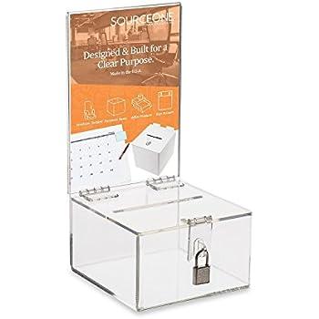 Source One Premium Clear Acrylic Display Donation Box - Ballot Box - Ticket Box - Suggestion Box - Locking box (1- Pack )