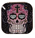 1pce Candy Skull Compact Mirror for Purse, Bag, Fold Up, Day of the Dead - Square Black
