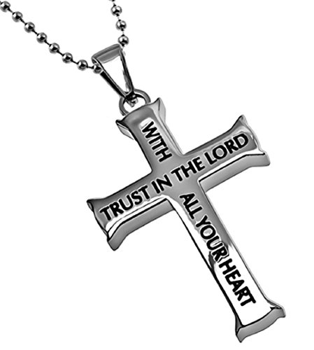Trust (Proverbs 3:5,6) Silver Stainless Steel Iron Cross Pendant Necklace Gift Bag (24, stainless-steel) (Steel Iron Cross)