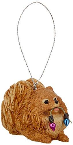Sandicast Orange Pomeranian Holding Holiday Lights Christmas Ornament