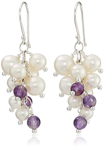Round Amethyst Bead and White Potato Freshwater Cultured Pearl Cluster Sterling Silver Ear Wire Drop Earrings