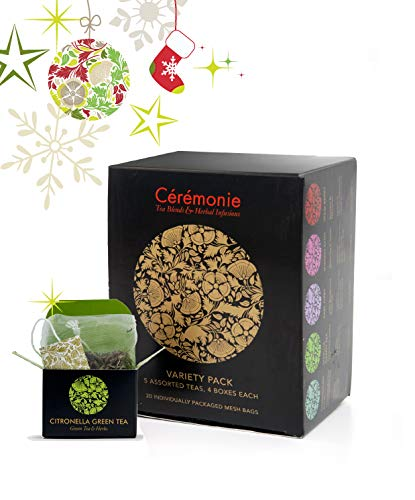 Variety Pack Gourmet Tea Sampler by Ceremonie Tea A Collection of 10 Different Assorted Single Serve Flavors Set of 2 each Petite Mini Cube Tea Bags 20 total silk cubes
