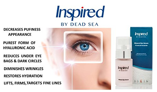 Inspired by Dead Sea Mineral Eye Intensive Serum Anti Aging Revive Best Premier Treatment Under Eye Dark Circles Puffiness Wrinkles Crows Feet Hyaluronic Acid Peptides Anti-Oxidants 30ml /1 fl.oz