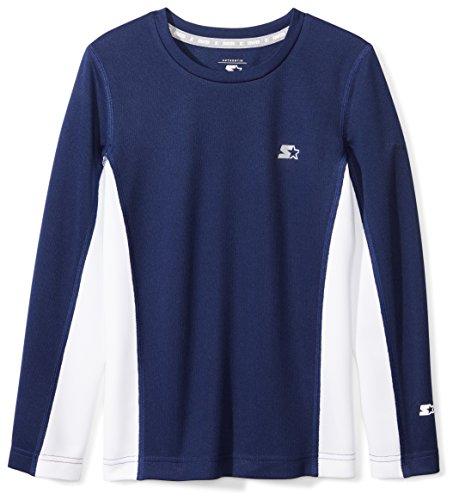 (Starter Boys' Long Sleeve Colorblocked Tech T-Shirt, Amazon Exclusive, Team Navy, M (8/10))