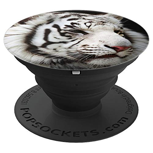 (White tiger face - PopSockets Grip and Stand for Phones and Tablets)