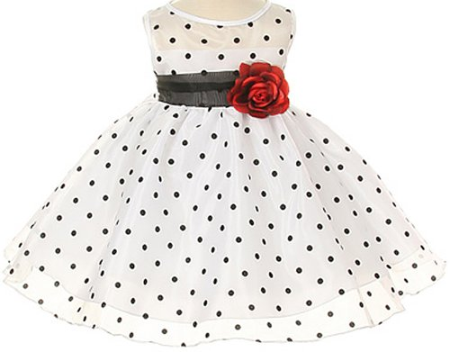 White Special Occasion Dress with Black Polka Dots Baby - XS ( 0 - 3 Months )