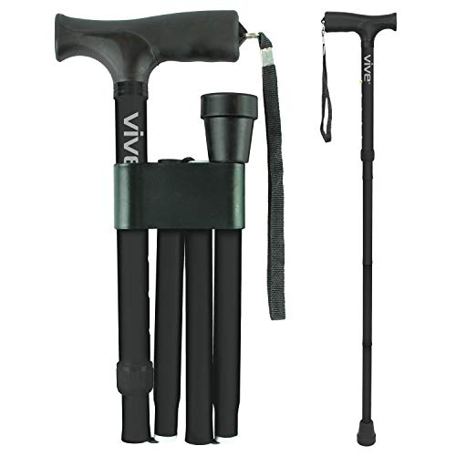 (Vive Folding Cane - Foldable Walking Cane for Men, Women - Fold-up, Collapsible, Lightweight, Adjustable, Portable Hand Walking Stick - Balancing Mobility Aid - Sleek, Comfortable T Handles)