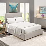 Nestl Bedding Soft Sheets Set - 4 Piece Bed Sheet Set, 3-Line Design Pillowcases - Easy Care, Wrinkle Free - Good Fit Deep Pockets Fitted Sheet - Free Warranty Included - Queen, White
