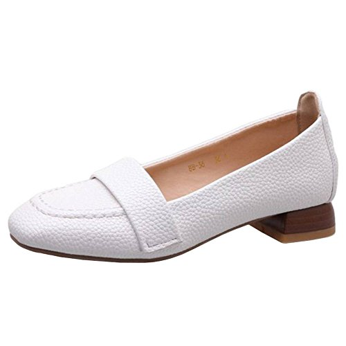 SJJH Casual Shoes with Low Heel Easy Matching Shoes for All Women White