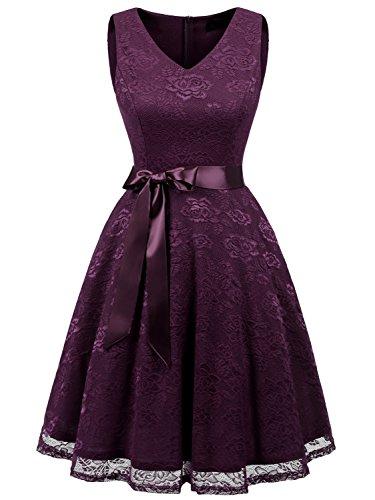 IVNIS RS90025 Women's Short Bridesmaid Dress V Neck Vintage Floral Lace Swing Cocktail Dress Grape xs